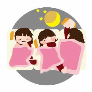 女の子3人が寝てる