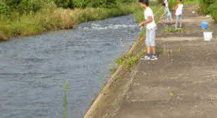 川で釣りをする様子